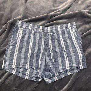 Blue & White Striped Shorts